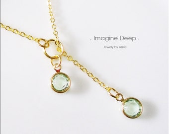 50% off SPECIAL - Seafoam Soft Pale Green Lariat Necklace - Gold Plated Light Sea Foam Green Swarovski Crystal