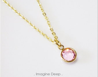 50% off SPECIAL - Light Pink Pendant Necklace - 17 inch Gold Plated Soft Baby Pink Swarovski Crystal