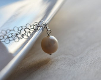 Pearl Necklace Round Fresh Water Pearl Sterling Silver Chain Simple Dainty Delicate Wedding Bride Bridesmaid