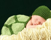SET - Crochet Baby Turtle Hat and Shell - Cape - Photography Prop - Newborn - Infant