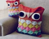 Owl Knitting Pattern - PDF - Pillow animal kids decor & amigurumi toy - Instant DOWNLOAD