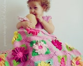 baby girl blankie pdf crochet pattern - Gerbera 3D Flower - newborn baby shower gift granny square floral blanket -  Instant DOWNLOAD
