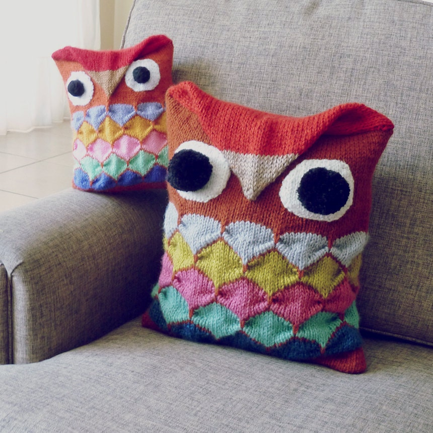 Owl Cushion Knitting Pattern : Owl Knitting Pattern - PDF - Pillow animal kids decor & amigurumi toy - I...