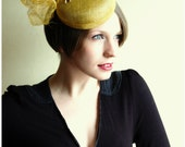 Cocktail hat - bright yellow giraffe fun and funky dress hat