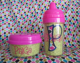 Green Damask Sippy Cup & Snack Container