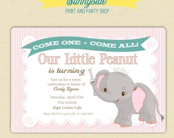 Little Peanut 1st Birthday Invitation - Pink Elephant First Birthday Party Printable Invite