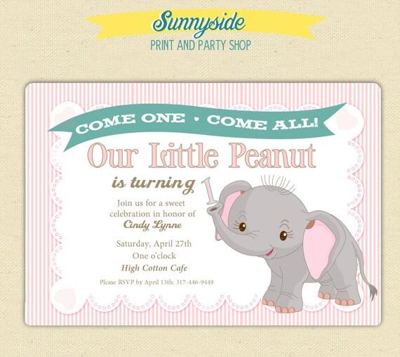 Little Peanut 1st Birthday Invitation Pink by sunnysideprintparty
