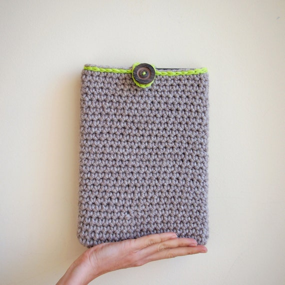 iPad case - eco friendly cozy sleeve - oversized button - neon tan taupe- unisex - tablet - kindle