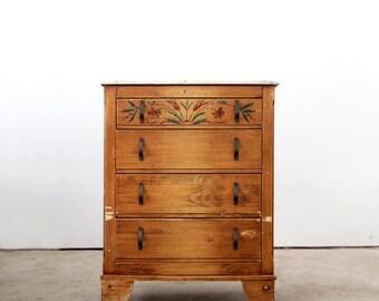 1940s Monterey dresser, vintage painted wood highboy cabinet