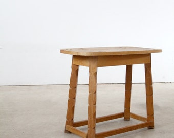 Monterey style table, carved wood end table, western ranch decor