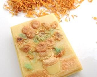 Vincent Van Gogh's Sunflowers in Soap, Sunflower Soap, Hand Painted Soap, Vincent Van Gogh, Sunflowers 1888