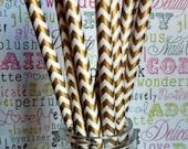 100 Gold Chevron Party  Straws, Gold Wedding Straws, Gold Metallic Straws with Printable DIY Flag Template