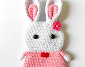 Bunny phone case Coin Pouch PINK and white Amigurumi Crochet bag, cotton yarn