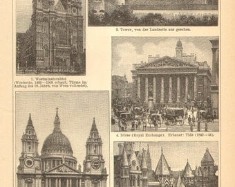 1904 The Most Impressive Buildings in London Original Antique Engraving to Frame