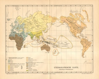 1890 Original Antique Ethnographic Map of the World