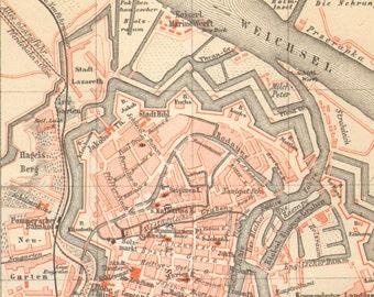1890 Original Antique City Map of Danzig, Gdansk as a Part of the German Empire
