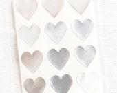 48 Heart Label Stickers- SILVER