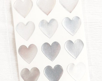 48 Heart Label Stickers- SILVER