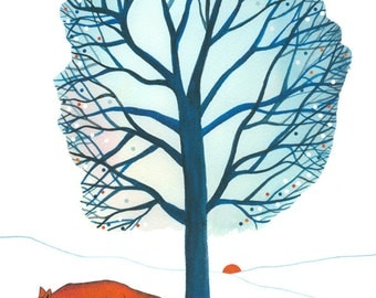 "10"" x  8"" Art Illustration Print Fox Landscape Tree Winter Blue White Orange Drawing Watercolor"