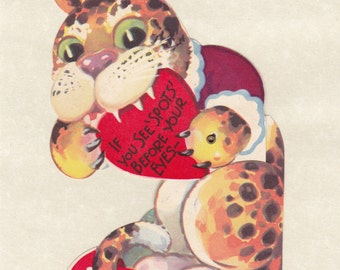 If You See Spots Before Your Eyes- 1950s Vintage Card- Mechanical Valentine- Retro Kitsch- Leopard Print- 50s Decor- Paper Ephemera