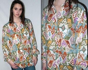 Roadhouse ... vintage 80s 90s southwestern blouse / 1980s rayon button up / ethnic aztec navajo / 1990s ikat southwest ... M L