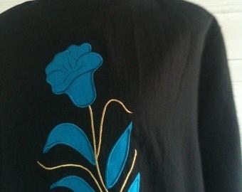 Vintage Black 80s Shirt with Blue FLOWER