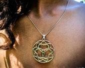 Anahata Heart Chakra Sterling Silver Pendant TRIPLE YUM Triple Heart Lotus Yoga Jewelry