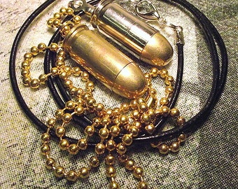 45 ACP Real bullet and brass necklace upcycled cool gift for him her biker steampunk