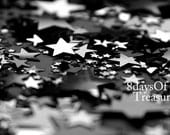 Stars,Constellation, Gray, Black, Dark, Black and White, Galaxy,  Gunmetal, Metallic, Silver,  8x10 METALLIC Print - 8daysOfTreasures