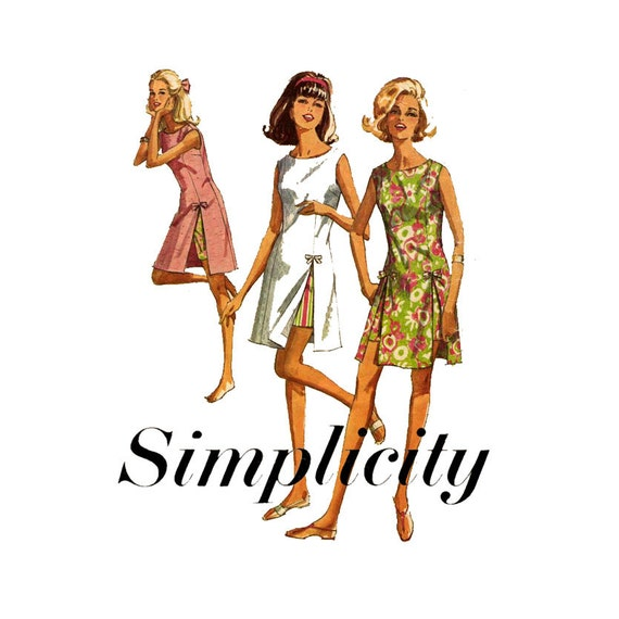 1960s Playsuit Pattern Simplicity 6013 Bust 36 Womens Vintage Sewing Pattern Princess Seam Play-Dress and Shorts Bow Trimmed Side Slits