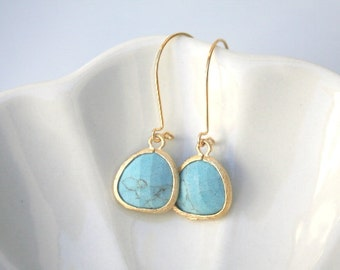Turquoise Earrings in Gold. Turquoise Earrings. Teal Earrings. Blue Earrings. Wedding Jewelry.Bridal. Dainty. Delicate. Turquoise Blue.Gift