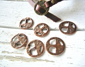 Leather Bracelet Clasp - Leather Buckle - Clasp for Leather Wristband - Antique COPPER Finish SMALL Tribuckle - Jewelry Clasp - 2 Pack