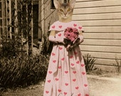 Valentine's Day Art, Cat in Dress Art, Pink Hearts Art, Abyssinian Cat, Animal in Clothes, Mixed Media Collage