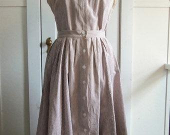 Striped Skirt & Blouse Set / 1970s / small - medium