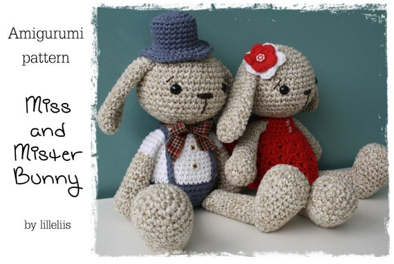 PATTERN Miss and Mister Bunny amigurumi bunny couple by ...