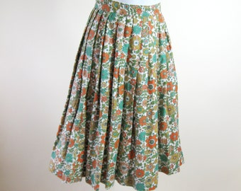 1960s Floral Pleated Skirt Orange Green Harvest Gold Womens Small