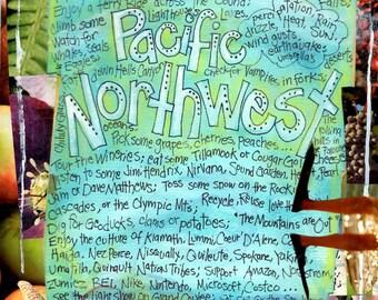 Pacific Northwest Gift, Northwest Art, Washington  Gift, USA, Oregon Gift , Idaho, Mixed Media Art, Wall Art,  by Seattle Artist  Mary Klump