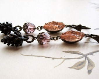 Pine Cone Assemblage Earrings / Pastel Woodland Jewelry / Mori Girl