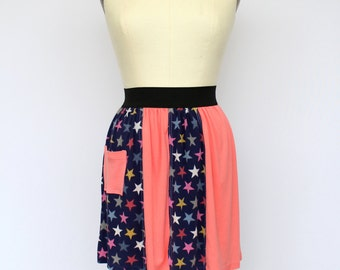 Coral and Stars Upcycled Cotton Skirt with Elastic Waistband and Pocket Detail, size small