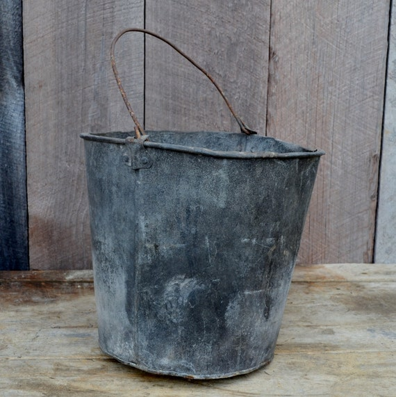Old metal bucket with a hole milk pail flower pot garden decor for Old metal buckets