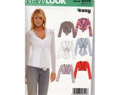 New Look 6559 Easy Uncut Sewing Pattern Sizes 8 10 12 14 16 18 misses Knit Bolero Jacket 2006