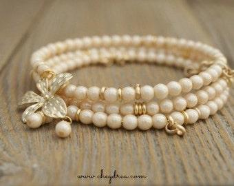 Beach Wedding, Ivory Jewelry, Ivory Bracelet, Beige Bracelet, Cream and Gold Bracelet, Sand and Gold Bangle Wrap Bracelet by Cheydrea