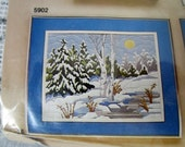 70s Artcraft Concepts Longstitch Needlepoint Kit - Winter Birches No 5902