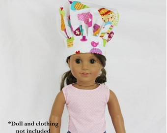 Sprinkles Cupcake Doll Size Chef Hat - white