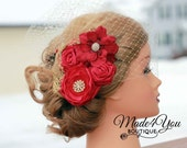 Red Birdcage Veil-Gold and Red Bridal Fascinator-Wedding Headpiece