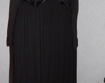 Vintage Black 1980 Swingy Beaded Folksy Black Dress Medium