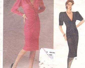 80s Emanuel Ungaro Womens Ruched Wiggle Dress Vogue Paris Original Sewing Pattern 1585 Size 12 Bust 34 UnCut Vintage Designer Patterns