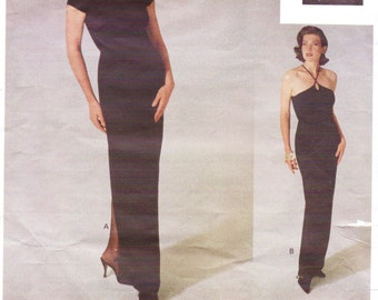 90s Jennifer George Womens Red Carpet Evening Dress Vogue Attitudes Sewing Pattern 1244 Size 8 Bust 31 1/2