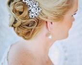 CADENCE, Crystal and Pearl Bridal Hair Comb, Vintage Style Wedding Hair Comb, Silver Bow Bridal  Hair Comb, Bridal Wedding Hair Accessories