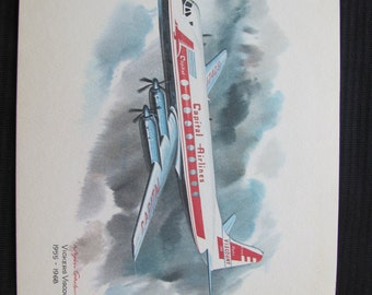 Vintage United Airlines Print Poster - Vickers Viscount - Galloway